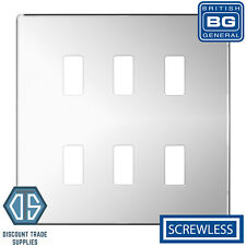 BG Polished Chrome Screwless 6 Gang Metal Front Cover Plate GFPC6