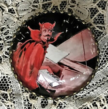 """DEVIL MEPHISTO PLAYING PIANO Glass BUTTON 1 1/4""""  VINTAGE Ragtime SHEET MUSIC"""