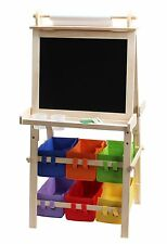 Omni Wooden Toys 4-in-1 school Easel Storage Bucket & Roll of Paper black/White