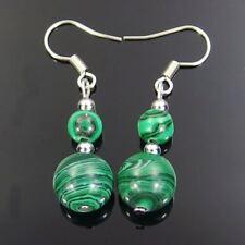 malachite gemstone beads silver plated dangle earrings 6mm 10mm