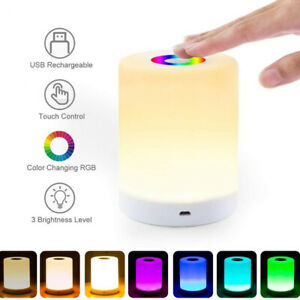 7 Colors Bedside Table Lamp Dimmable Touch Control Rechargeable LED Night Light
