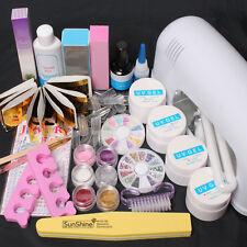 Professional 9W UV Dryer Lamp Block Sanding False Nail Art Tips Gel Tool DIY Kit