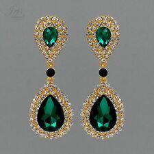 Gold Plated GP Emerald Green Crystal Rhinestone Wedding Drop Dangle Earrings 804