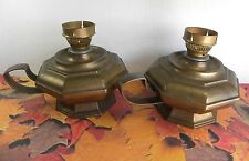 Antique Brass/Bronze Oil Lamp Finger Candlestick Holder Maker Mark