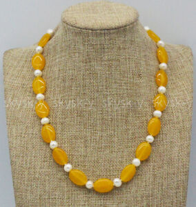 Natural 7-8mm White Freshwater Pearl & 13x18mm Oval Yellow Topaz Necklace 18''