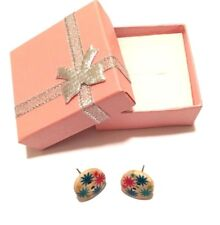 Ladies Handmade, Flower Design Button Earrings, Trendy Fashion Earrings
