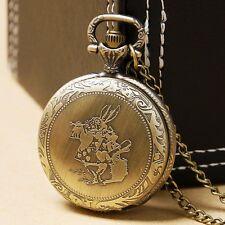 Retro Antique Style Alice in Wonderland Rabbit Pocket Watch Necklace Chain Gift