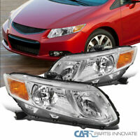 Fit Honda 12-15 Civic Coupe Sedan Clear Headlights Head Lights Lamps Left+Right