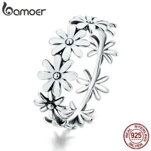 BAMOER S925 Sterling Silver CZ Little Daisy Flower Finger Ring For Women Jewelry