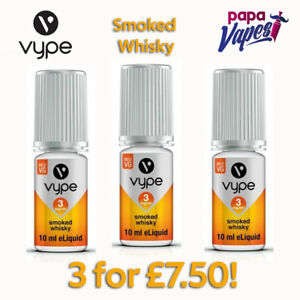 VYPE E-LIQUID Special offer! 3 for £7.50!   SMOKED WHISKY   3MG/6MG/12MG   10ML