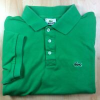 Lacoste Extra-Large XL (6) Green Solid Short Sleeve Polo Shirt Logo Genuine