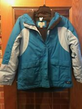 Girls blue Lands' End Fall/Winter jacket with hood, size Xl (16)