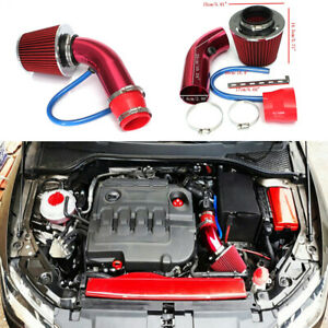 Red Cold Air Intake Filter Induction Pipe Power Flow Hose System Car Accessories
