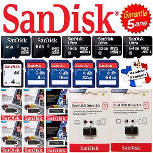 Carte Mémoire ou Clé USB SANDISK : SD / Micro SD 4 8 16 32 64 128 256 Go Gb Giga