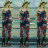 Women Print Sleeveless Strap Wide Legs Floral Jumpsuit Romper Trousers