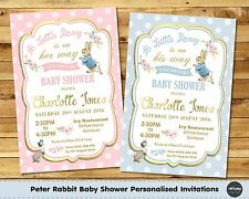 PETER RABBIT BABY SHOWER PERSONALISED INVITATION INVITE CARD GOLD BOY GIRL