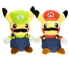 2pcs Pokemon Center Pikachu Plush Doll Super Mario Luigi Figure Soft Toy US SHIP