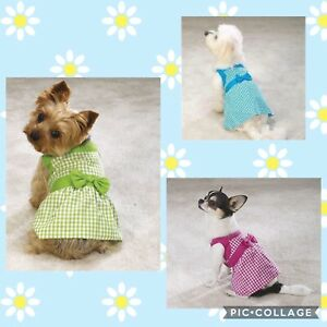 East Side Collection Gingham Summer Dress Blue Pink Green for Pets