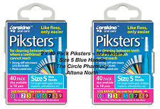 2 x 40 Pack = 80 Piksters Size 5 Interdental Blue Handle Brush Like Floss NEW