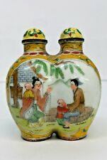 ANTIQUE CHINES TWIN SNUFF BOTTLE ENAMEL, Hand painted , SIGNED