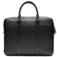 """Paul Smith No.9 Embossed-Leather Slim Briefcase 13"""" Laptop Bag Black $950"""