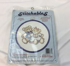 Stitchables Counted Cross Stitch Kit Old Fashioned Teddy Bears #7677 Aida Cloth