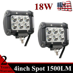 2X 4inch 18W LED Work Light Bar Spot Driving Fog Lamp Offroad Truck SUV 16W/24W