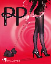 Nuevo Pretty Polly Medias Combo Talla Única Estándar Negro Rombos Imitación