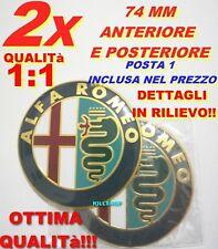 2 Stemma ALFA ROMEO GIULIETTA MITO 156 159 Logo Fregio Anteriore Posteriore oro