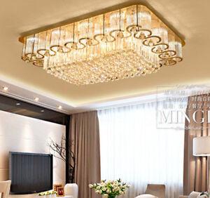 Modern Clear Crystal Ceiling Light Pendant Remote control LED Chandelier Light