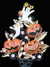 JACK LANTERN GHOST PUMPKIN HALLOWEEN CHRISTMAS TREE TOPIARY PIN BROOCH JEWELRY