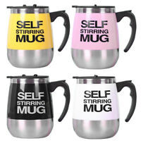 Electric Stainless Steel Magnetized Mixing Cup Auto Self Stirring Coffee Mug 450