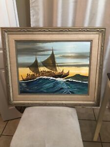 Original Baron Von Nagy 1976 SIGNED Painting on Wood Framed Moana Disney ???