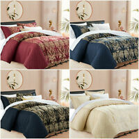 Luxury 3 Piece Jacquard Bedspread Throws Quilted Bedding Set Double & King Size