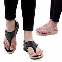Ladies Toe Post Womens Black Beige Sandals Girls Flip Flops Size Synth Leather