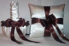 Ivory Cream Satin / Brown Trim Flower Girl Basket & Ring Bearer Pillow #2