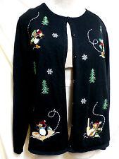 Croft & Barrow EUC Embroidered Penquin Christmas Cardigan Sweater XL