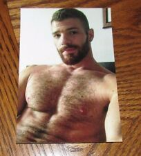 Shirtless Male Beefcake Hairy Chest Beard Beefy Hunk Man Muscle PHOTO 4X6 D309