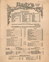 Vintage LINDY'S INC. Restaurant Menu New York City New York 1962