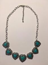 Fashion HEART Turquoise Gemstone 925 STERLING Silver Plated Necklace-N1373