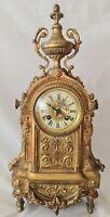 French Ormolu Clock Antique Gilt Bronze A.D Mougin RUE ROYALE PARIS Bell Strike
