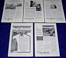 Lot of 5 Antique Ads ~ JOHNS-MANVILLE CO. Asbestos Shingles, Roofing 1917-1930