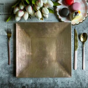 "NEW Dress Your Table Square 12"" Gold 7"" 10"" Silver Charger Plates Wedding Dinner"