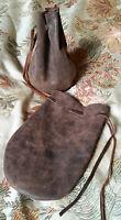 leather dice coin bag pouch medieval renaissance brown drawstring D&D