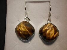 Tigers Eye Dangle Earrings in 925 Sterling Silver-30.21 Carats