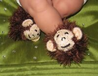 PRINTED INSTRUCTIONS- BABY MONKEY BOOTS BOOTIES ANIMAL BOOTEES KNITTING PATTERN