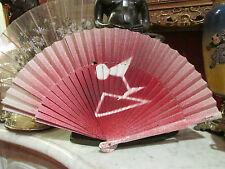 ancien eventail fan abanico ventaglio papier epoque art deco signé