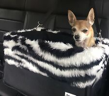 """Large Black Dog Car Booster Seat (""""Zebra"""" lining) - Dogs Out Doing *"""