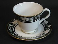 Royal Doulton Vogue, Intrigue, Cup & Saucer Set 1984, Black, Floral, TC1153