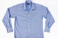 Ben Sherman Mens Blue Striped Button Front Shirt L/S Size 15- 1/2 32-33